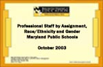 Professional Staff by Assignment, Race/Ethnicity and Gender Maryland Public Schools October 2003