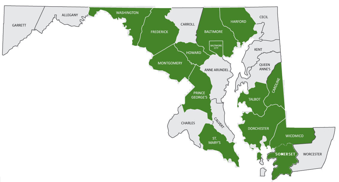 Map of Maryland. Baltimore City and these counties are highlighted: Baltimore, Caroline, Dorchester, Frederick, Harford, Howard, Montgomery, Prince George's, Talbot, Washington and Wicomico Counties