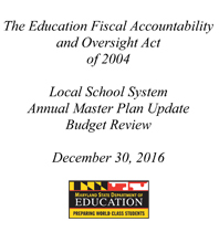 2016 Review of Local School System Master Plans, December 2016