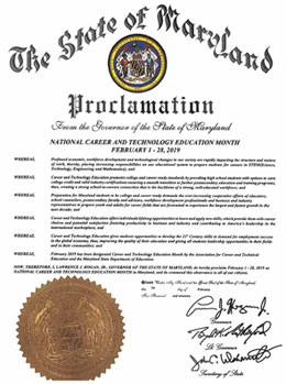 Proclamation from Maryland Governor Larry Hogan designating National Career and Technology Education Month. February 1 to 28, 2019.