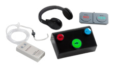 A photograph of different types of assistive technology