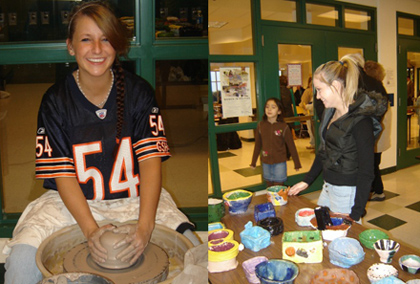 Student using a pottery wheel. Another student shows off a table of finished ceramic bowls