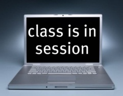 Class Is in Session on screen of Laptop